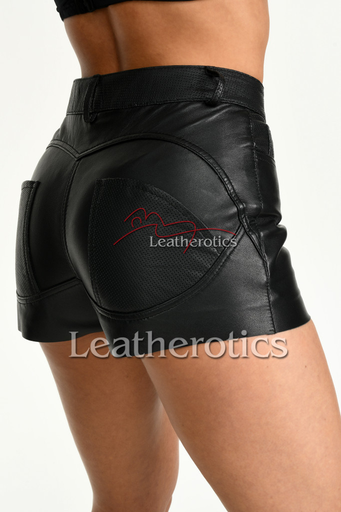 Tight Fit Black Leather Booty Shorts 5