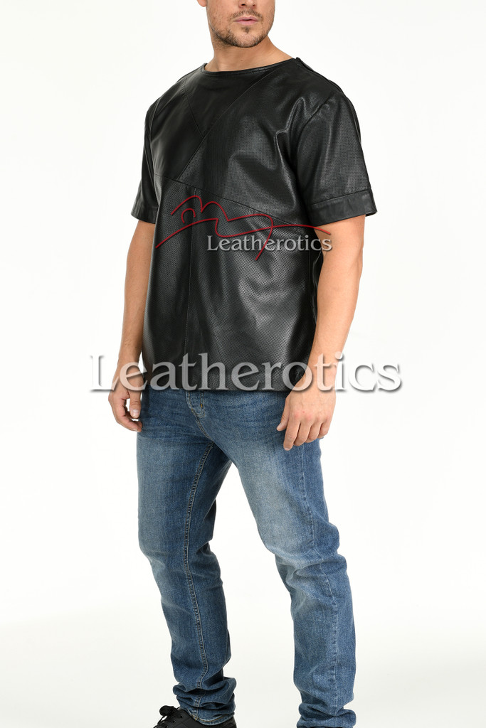 Men's Perforated  Leather T-Shirt - side