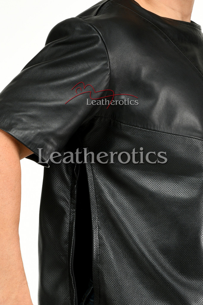 Men's Perforated  Leather T-Shirt - details