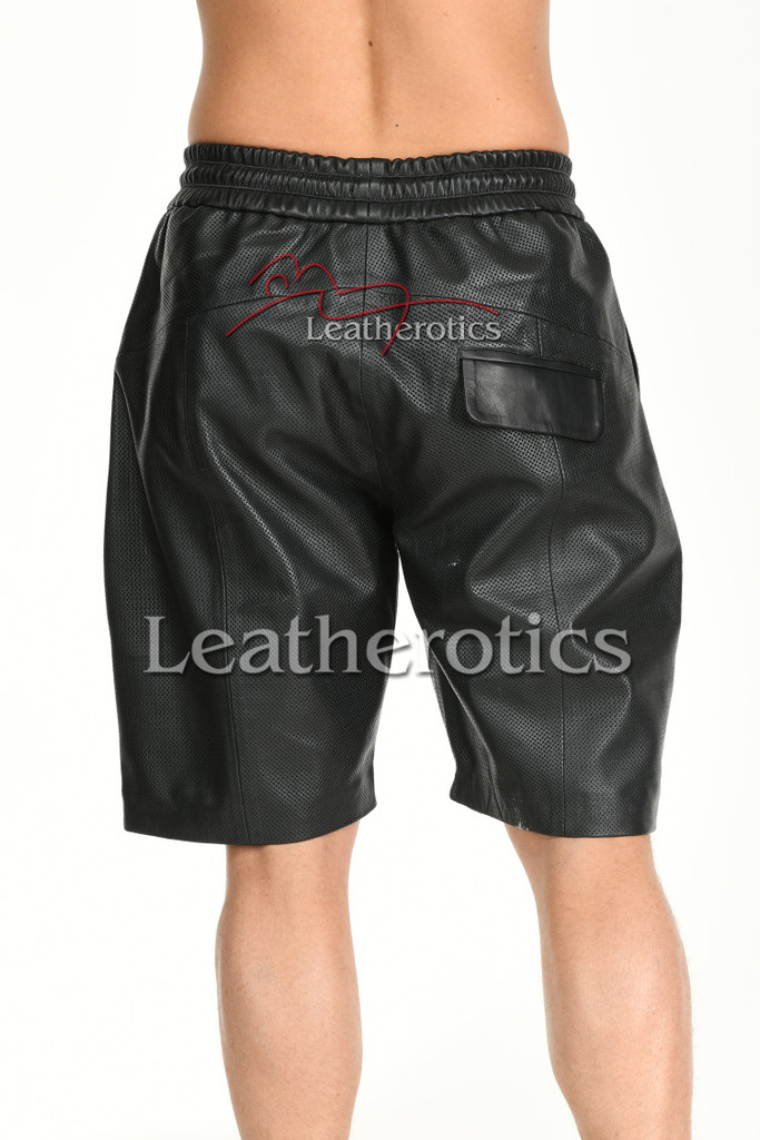 Perforated Leather Shorts - back