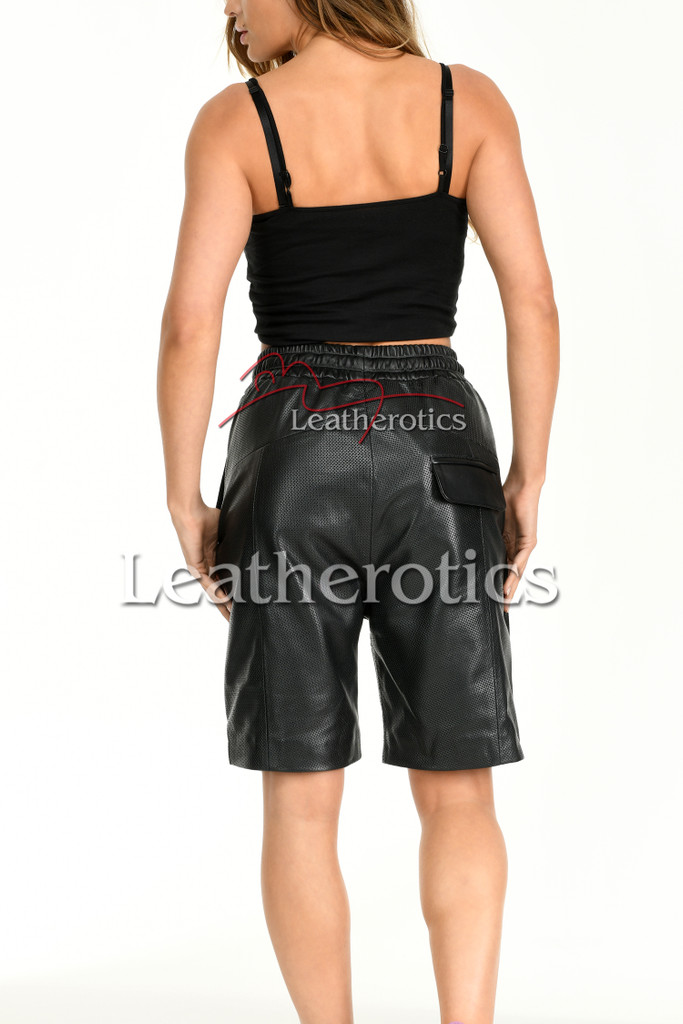 Women's Perforated Black Leather Shorts 3