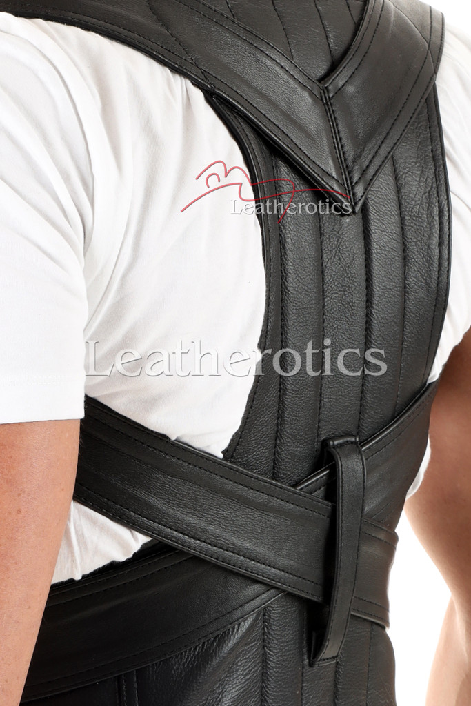 Men's Leather Posture Support Adjustable Belt - details
