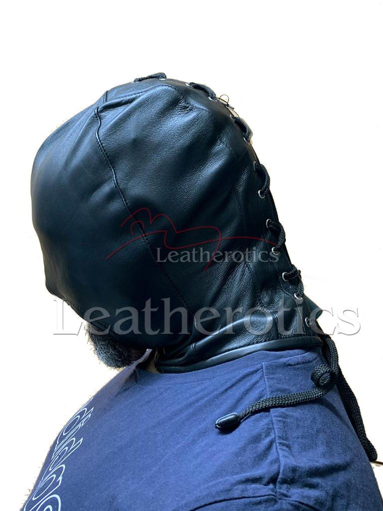 Black leather gimp mask - side