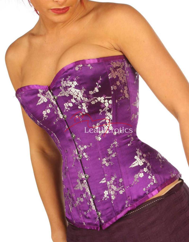 Back Lacing Steel Boned Corset Top Purple Cherry 1919DP