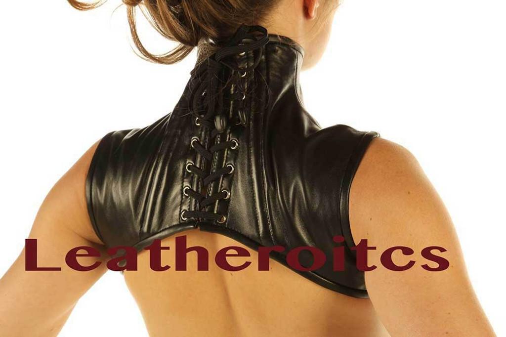 Real Leather Extreme Shoulder Corset Harness Binder