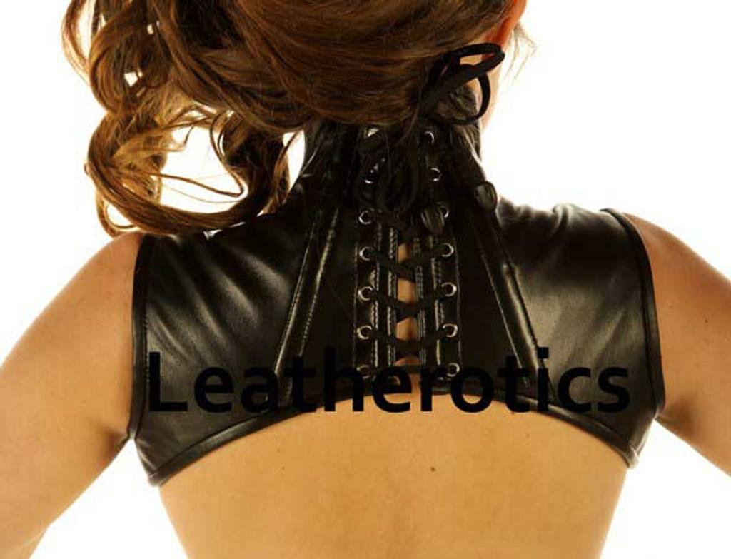 Real Leather Extreme Shoulder Corset Harness Binder - back