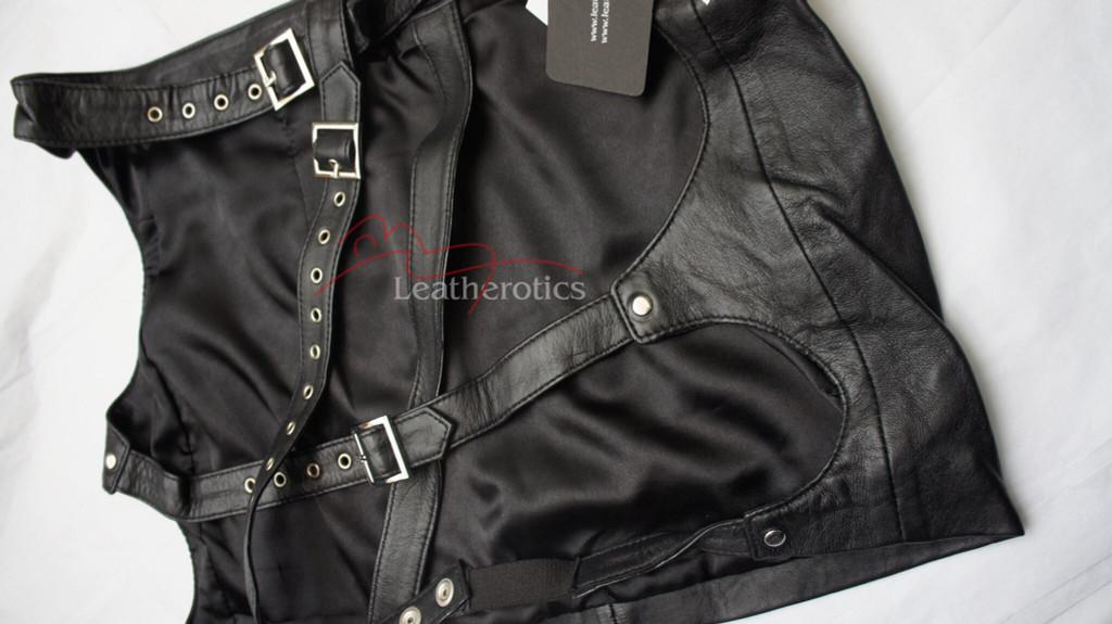 black leather spanking skirt