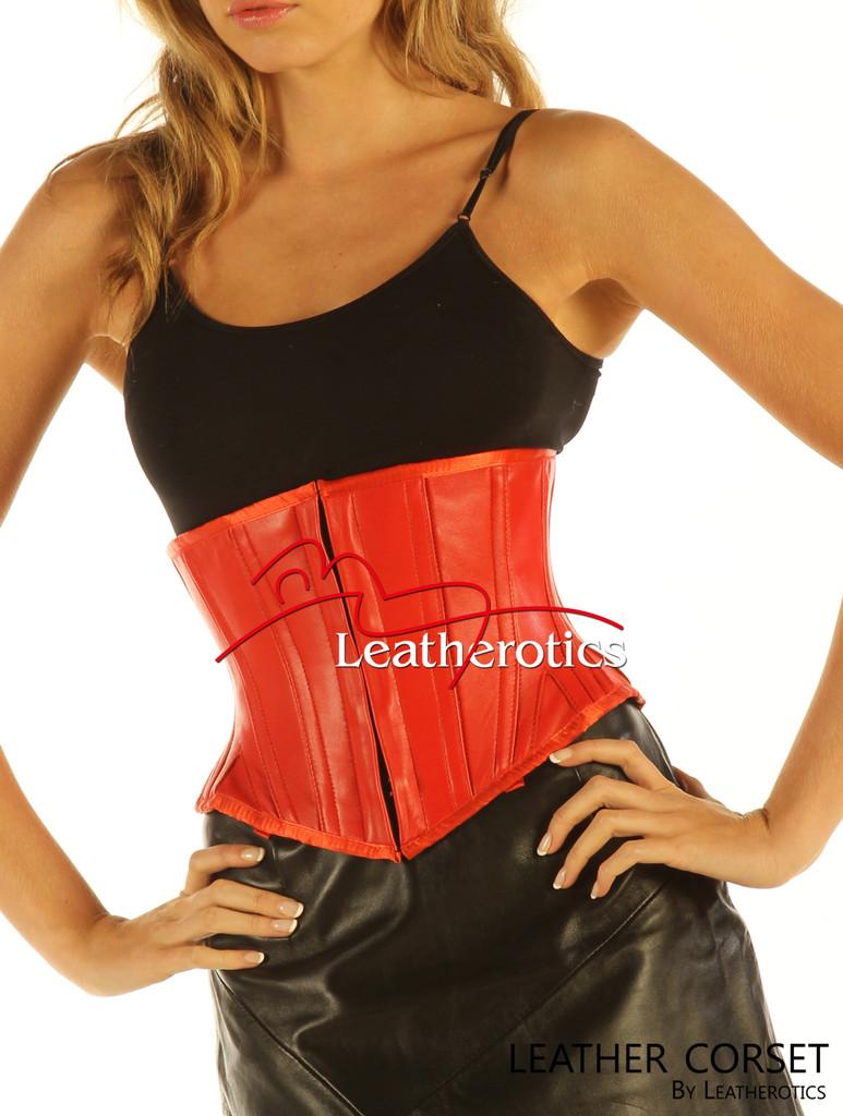 Red Under Bust Leather Corset Waist Trainer