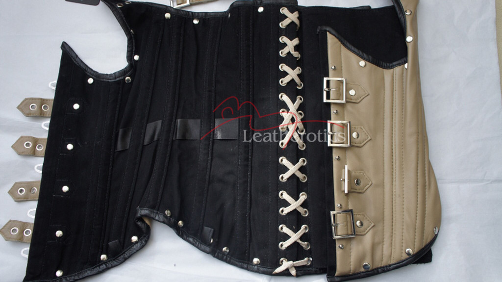 Tan Leather Underbust Gothic Corset Steampunk 1803