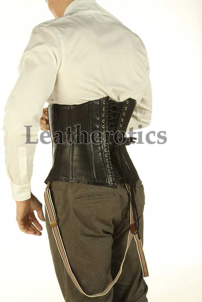 Black Underbust Leather Corset For Men Tight Lacing Steel Boned Top TGS TVS 1214M