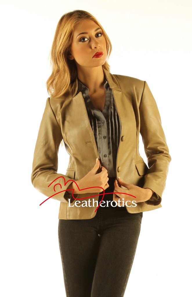 Ladies Tan Leather Blazer Jacket Classic Stylish Coat front view detail