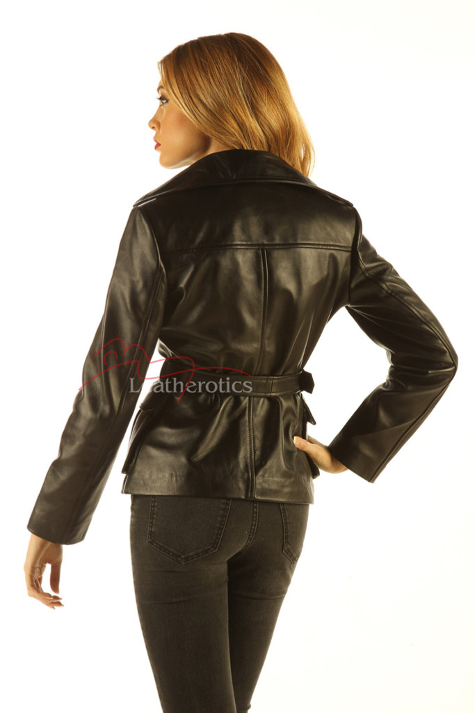 Women's Leather Jacket Wrap Around Belted Top back view