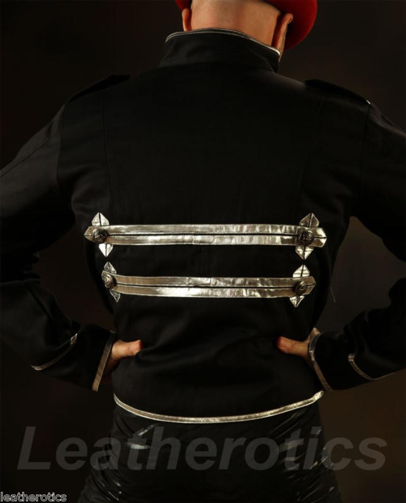 Men's Military Short Black Cotton Jacket Top back view
