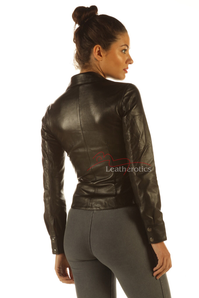 Ladies Soft Leather Shirt Top Clothing Long Full Sleeves side