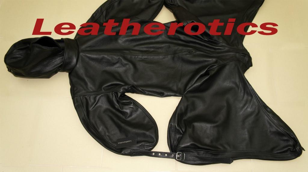 Leather Bodybag Bondage B-Suit with Mask Restraint Gimp suit pic 3