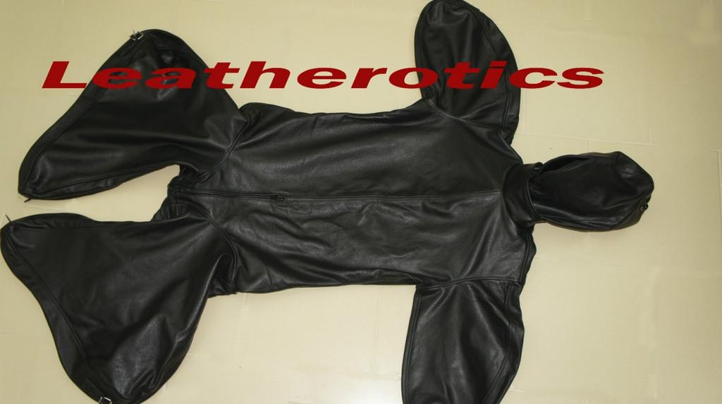 Leather Bodybag Bondage B-Suit with Mask Restraint Gimp suit pic4