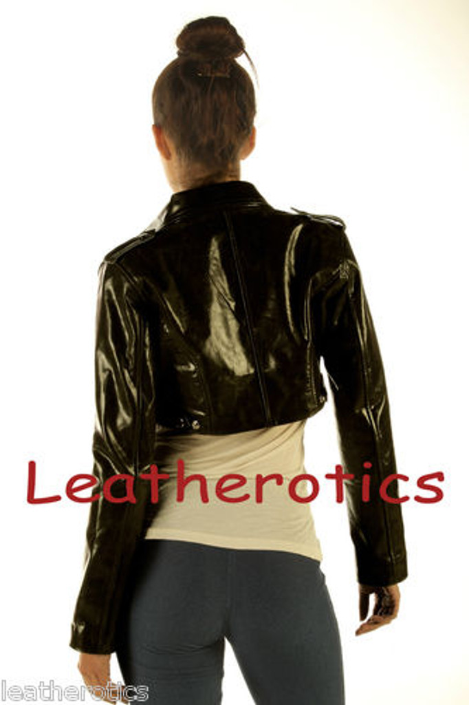 Ladies Leather High Waisted Short Jacket M85 image 3