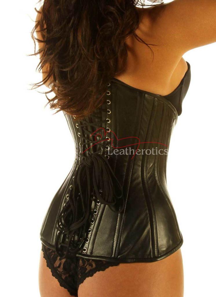 Black Leather Under Bust Edwardian Corset Cupless Steel Boned