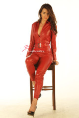 Red leather ultra-form-fitting catsuit front