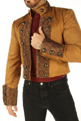 Brown military steampunk jacket for men