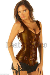 Antique Brown Double Steel Boned Real Leather Corset Steampunk 8300