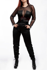 Summer Jumpsuit With Mesh Arms Black - Front