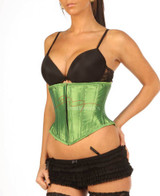 Under Bust Green Satin Corset Basque