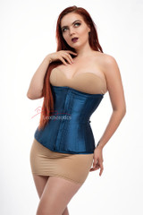 Blue Satin Under Bust Steel Boned Hipster Corset front view