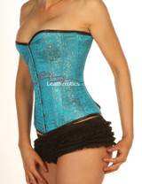 Turquoise Full Steel Boned Corset with modesty panels  front