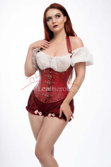 red leather corset