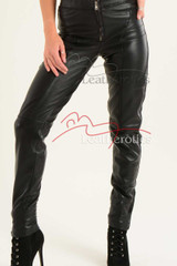Ladies Fine Leather fitted Trouser - details