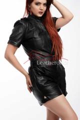 Lavish Soft Black Leather Playsuit Jumpsuit Capri Dress