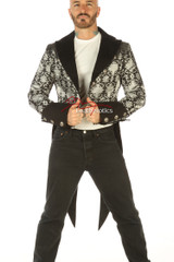 Victorian Tailcoat - Silver on Black Brocade - front view