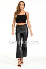 Flared leather trousers - front