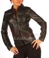 Black Leather Dress Shirt Jacket BG2