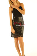 Black Leather Skirt High Waist Nappa Skins NP5