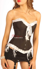 Black Satin Full Steel Boned White Frilled Corset