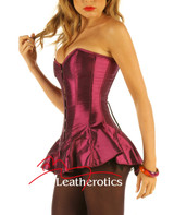Corseted Skirt Skirted Basque Slimming 1810 Purple Steel Boned front view