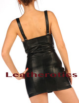 Fetish Leather Mini Dress with lace zipper front back