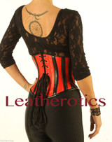 Underbust Leather Corset Cinched Red and Black Combo