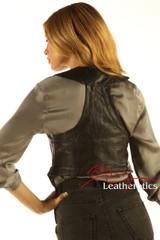 Soft Leather Fashion Ladies vest WC1 - back
