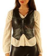 Soft Leather Short Waist Coat vest Top (wc2)
