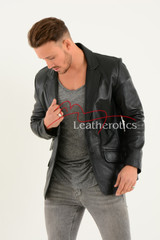 Men's Classic Fine Leather Blazer 2