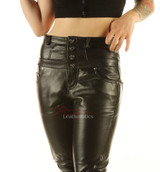 Leather High waisted skinny Jeans with protective double stitching