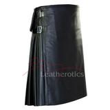 Stunning Full Grain Leather Kilt Pleated Scottish - side