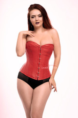 Red leather over bust corset
