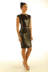 Lavish Soft Black Leather midi Dress Zipper Front Top Calf Length side