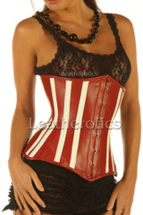 Leather Corset 1836 Red White - front