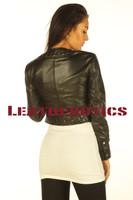 Ladies Leather Jacket Short Length High Waist PPJC