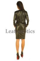 Elegant Black Leather Dress from back
